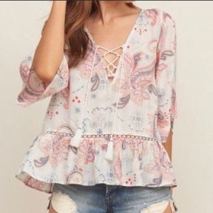 Abercrombie and Fitch | Boho lace up peasant top
